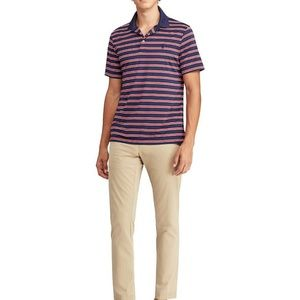 Stripe Airflow Jersey Short-Sleeve Polo Shirt 138
